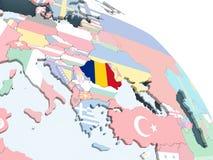 Rumania con la bandera en el globo ilustración del vector