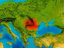 Rumania en mapa físico stock de ilustración
