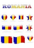 Rumania señala el botón por medio de una bandera Ilustración del Vector