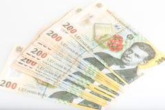Rumano 200 Leu Stack del dinero Imagen de archivo libre de regalías