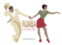 Rumba in the City. Handsome man and pin-up girl dancing latin music Royalty Free Stock Photos