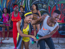 Rumba in Havana Cuba. HAVANA, CUBA - JULY 18 : Rumba dancers in Havana Cuba on July 18 2016. Rumba is a secular genre of Cuban music involving dance, percussion Royalty Free Stock Image