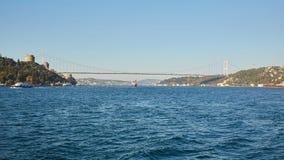 Rumeli城堡和法提赫苏丹穆罕默德桥梁在伊斯坦布尔,土耳其 免版税图库摄影