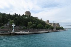 Rumeli Fortress at the European Side of Bosphorus Strait, in Istanbul, Turkey. Royalty Free Stock Photo