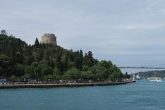 Rumeli Fortress at the European Side of Bosphorus Strait, in Istanbul, Turkey. Royalty Free Stock Image