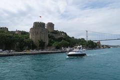 Rumeli Fortress at the European Side of Bosphorus Strait, in Istanbul, Turkey. Stock Image