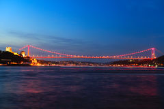 Rumeli Fortress and Fatih Bridge Stock Images