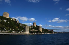 Rumeli Hisar castle. Medieval castle located in the Sarıyer district of Istanbul, at the European side of Bosporus stock images