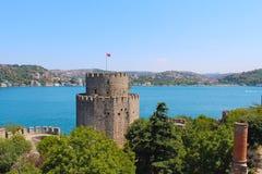 Rumeli hisari堡垒和海在土耳其 免版税库存照片