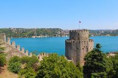Rumeli hisari堡垒和海在土耳其 库存照片
