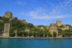 Rumeli Hisari Fortress in Spring. Istanbul, Turkey. Rumeli Hisari Bogazkesen Castle is a medieval fortress located in Istanbul, Turkey stock images