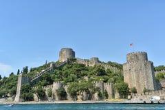 Rumeli Hisari (den Rumeli fästningen), Istanbul, Turkiet Arkivfoto