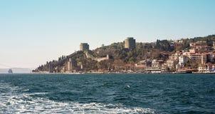 Rumeli Hisari fästning Det var den konstruerade ottomanen Sultan Mehmed II i 1452, för han erövrade Constantinople Arkivfoto