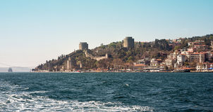 Rumeli Hisari forteca Ja był budującym Osmańskim sułtanem Mehmed II w 1452 zanim podbijał Constantinople Zdjęcie Stock