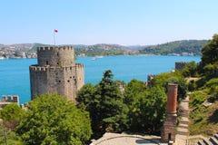 Rumeli hisari fortress in Istanbul, Turkey. Rumeli hisari fortress and sea in Istanbul, Turkey Royalty Free Stock Photos