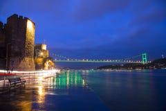 Rumeli Hisari (Rumeli Castle) and Fatih Sultan Mehmet Bridge background Stock Images