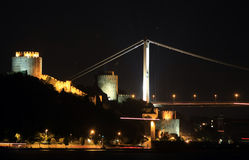 Rumelian Castle with Second Bosporus Bridge Royalty Free Stock Image
