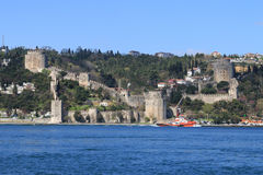 Rumelihisarı. Is a fortress located in Istanbul, Turkey, on a hill at the European side of the Bosphorus Stock Image