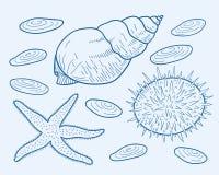 Rumflaschen-, -silber- und -goldmünzen, Seile, Kompass und alte Karte der Insel Stock Abbildung