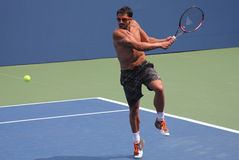 Fachowe gracz w tenisa Janko Tipsarevic praktyki dla us open przy Billie Cajgowego królewiątka tenisa Krajowym centrum Zdjęcia Royalty Free