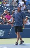 Osiem czasów wielkiego szlema mistrz Ivan Lendl trenuje wielkiego szlema mistrza Andy Murray dla us open Zdjęcie Stock
