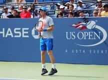 Wielkiego Szlema mistrza Andy Murray praktyki dla us open przy przy Billie Cajgowego królewiątka tenisa Krajowym centrum Obrazy Royalty Free