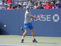 Wielkiego Szlema mistrza Andy Murray praktyki dla us open przy przy Billie Cajgowego królewiątka tenisa Krajowym centrum Zdjęcie Stock