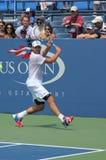 Wielkiego Szlema mistrza Andy Roddick praktyki dla us open przy Billie Cajgowego królewiątka tenisa Krajowym centrum Zdjęcia Royalty Free