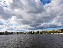 Rummelsburg湖的在柏林,德国首都全景 库存图片