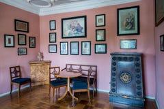 Rummet på det Goethe huset i Weimar, Tyskland Arkivbilder