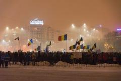 Rumäneprotest gegen Regierung Stockfotografie
