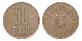 50 Rumänien bani Münze Lizenzfreies Stockfoto