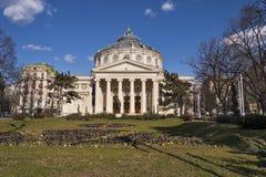 Rumänsk Athenaeum i Bucharest Arkivbild