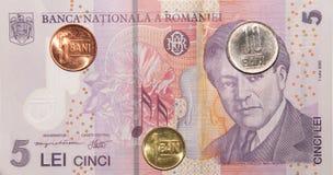 Rumänska pengar: 5 lei Fotografering för Bildbyråer