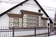 Rumänskt målat hus Arkivbild