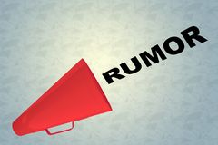 RUMOR - conversational concept. 3D illustration of RUMOR title flowing from a loudspeaker Royalty Free Stock Photos
