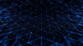 Rumore astratto di scienza e di tecnologia con le linee blu di griglia illustrazione di stock