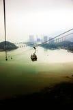 Rumore metallico 360 del nong delle cabine di funivia a Hong Kong Immagine Stock Libera da Diritti