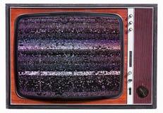 Rumore statico su un vecchio set televisivo d'annata immagini stock libere da diritti