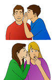 Rumors, Whispers and Gossip. This illustration shows young people whispering to each other. Plenty of rumors and gossip to go around Royalty Free Stock Photography