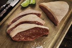 brazilian bbq picanha. Beef steak. Raw meat. Royalty Free Stock Images