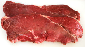 Rump steak. Two pieces of rump steak on a plastic chopping board Stock Image