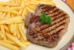 Rump Steak & Fries Stock Photography