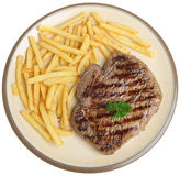 Rump Steak and Fries. Thick rump steak with French fries Royalty Free Stock Photography