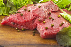 Rump steak with green pepper Stock Images