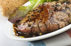 Rump steak with green pepper Royalty Free Stock Photo