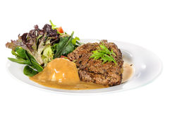 Rump steak with mashed potatoes and mix vegetable on plate Stock Photo