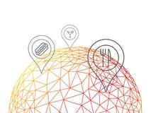 Rumpled глобус текстуры картины триангулярного низкого поли стиля геометрический с диаграммой иллюстрации вектора конспекта индик Стоковое Изображение RF