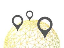 Rumpled глобус текстуры картины триангулярного низкого поли стиля геометрический с диаграммой иллюстрации вектора конспекта индик Стоковые Изображения