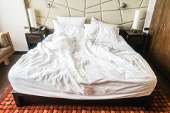 Rumpled bed Royalty Free Stock Photo